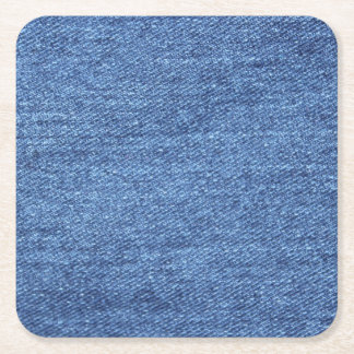 Blue White Denim Texture Look Image Square Paper Coaster
