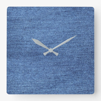 Blue White Denim Texture Look Image Square Wall Clock