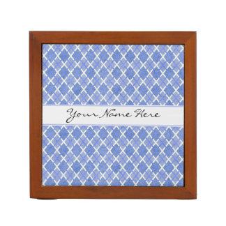 Blue & White Diamond Overlap Pattern with Name Desk Organizer