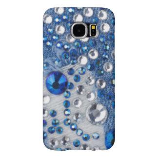 Blue & White Diamonds Blue Jean Pattern Design Samsung Galaxy S6 Cases