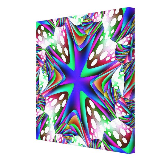 Blue White Dots Wrapped Canvas