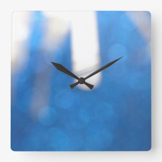 Blue White Effects Wall Clock