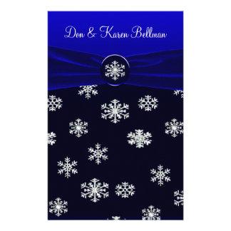Blue & White Elegant Snowflakes Wedding Personalized Stationery