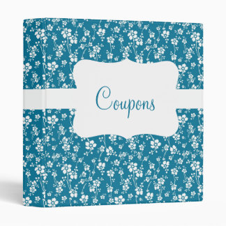 Blue/White Floral Coupon organizer Vinyl Binders