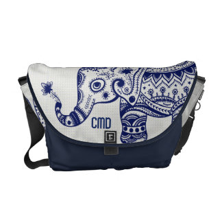 Blue & White Floral Elephant Monogramed Commuter Bags