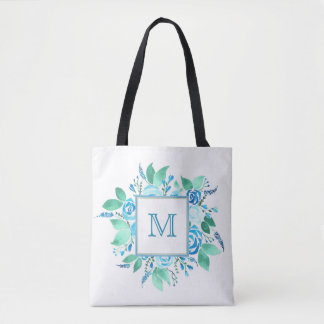 Blue White Floral Monogram Tote Bag