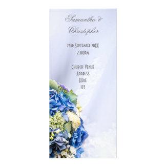 Blue White floral wedding church wedding program