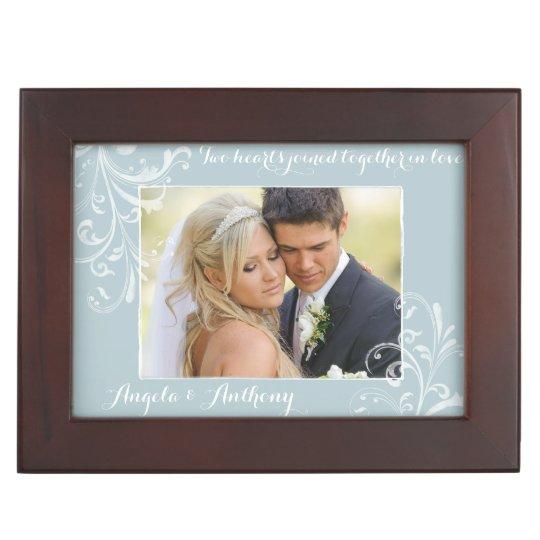 Blue White Floral Wedding Photo Personalized Memory Box