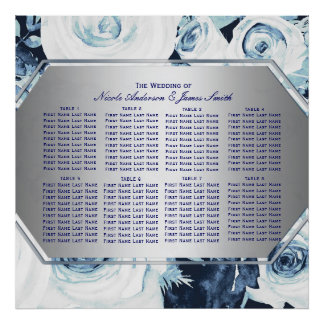 Blue White Floral Winter Wedding Seating Chart