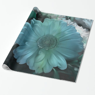 Blue White Florall Bouquet Wrapping Paper