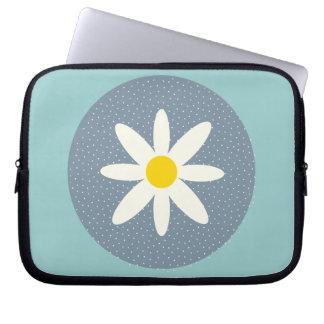 Blue White Flower Neoprene Laptop Zippered Sleeve Computer Sleeve