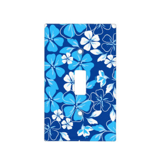 Blue & white flowers light switch cover