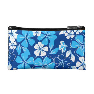 Blue & white flowers makeup bag