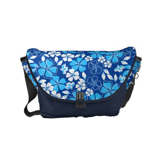 Blue & white flowers messenger bag