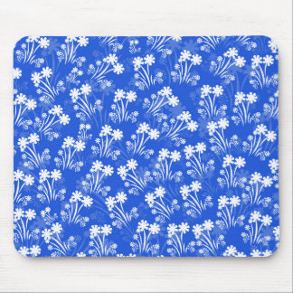 Blue White Flowers Mouse Pad