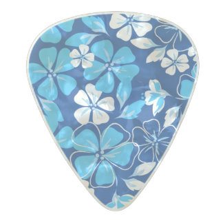 Blue & white flowers pearl celluloid guitar pick