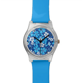 Blue & white flowers watch