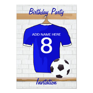 "Blue White Football Soccer Jersey Birthday Party 5"" X 7"" Invitation Card"