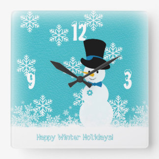 Blue white funny snowman with snowflakes square wall clock