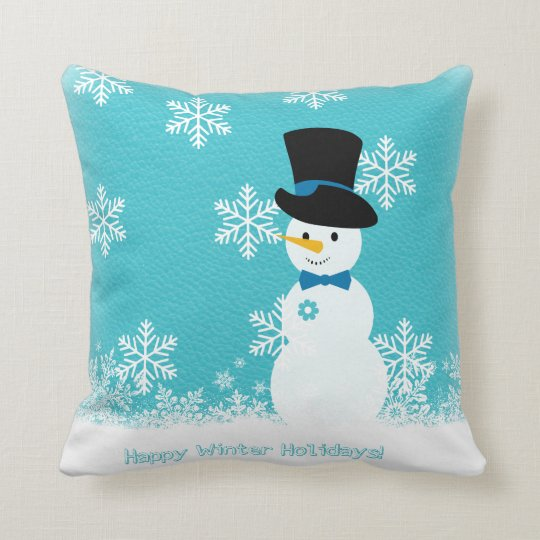 Blue white funny snowman with snowflakes throw pillow