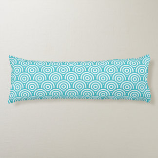 Blue & White Geometric Circle Pattern Body Pillow