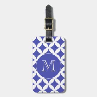 Blue White Geometric Pattern Custom Monogram Luggage Tag