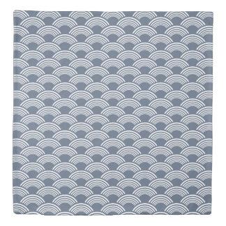 Blue White Geometric Wave Pattern Duvet Cover