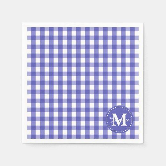 Blue White Gingham Check Pattern Monogram Paper Napkins