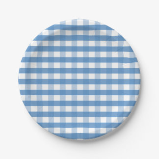 Blue white gingham paper plate Lighthouse Route™ 7 Inch Paper Plate