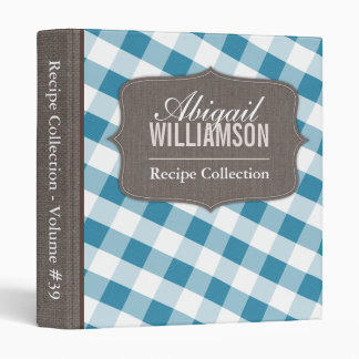 Blue & White Gingham Southern Recipe Binder