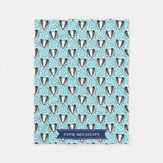 Blue White Gray - Badger Pattern - Name Fleece Blanket