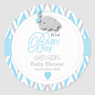 Blue, White Gray Elephant Baby Shower 2 Classic Round Sticker