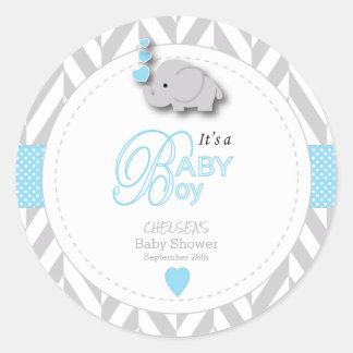 Blue, White Gray Elephant Baby Shower Classic Round Sticker