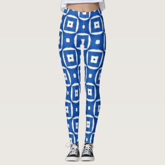 Blue White Greek Mediterranean Tile Circles Square Leggings