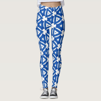 Blue White Greek Mediterranean Tile Triangles Chic Leggings