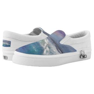 Blue White Green Sunset Wave Slip on Sneakers