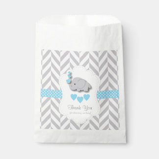 Blue, White Grey Elephant Baby Shower Thank You Favour Bag