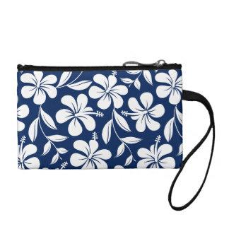 Blue & white hibiscus coin purse
