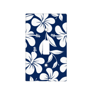 Blue & white hibiscus light switch cover