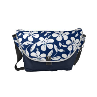 Blue & white hibiscus messenger bag