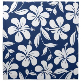 Blue & white hibiscus napkin