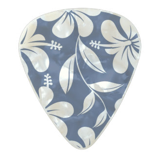 Blue & white hibiscus pearl celluloid guitar pick