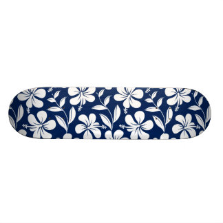 Blue & white hibiscus skate boards