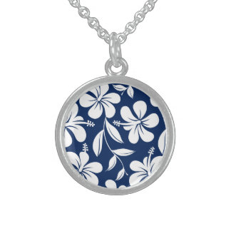 Blue & white hibiscus sterling silver necklace