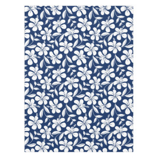 Blue & white hibiscus tablecloth