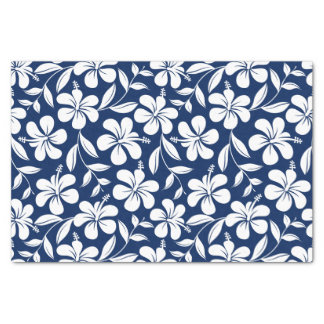 Blue & white hibiscus tissue paper