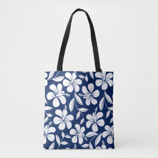 Blue & white hibiscus tote bag