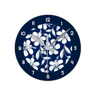 Blue & white hibiscus wall clocks
