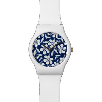 Blue & white hibiscus watch