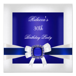 Blue White Jewel Bow 30th Birthday Party Silver Card
